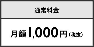 通常料金 月額1,000円(税抜)